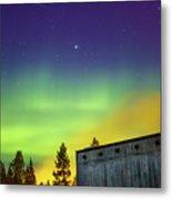 Fog And Northern Lights At Sapmi Museum Karasjok Norway Metal Print
