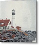Fog Approaching Portland Head Light Metal Print