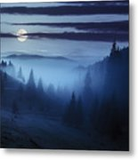 Fog Around The Mountain Top At Night Metal Print