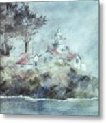 Fog At Batterypoint Lighthouse Metal Print
