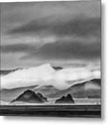Beach Walking In The Fog Metal Print