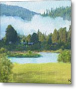 Fog On The Road To Mccall Metal Print