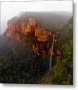 Fog Sunrise And Waterfalls Metal Print