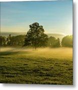 Foggy Autumn Morning On The Farm Metal Print