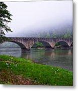 Foggy Bridge Metal Print