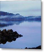 Foggy Dawn Blue And Pink Metal Print