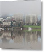 Foggy Day Along Portland Waterfront Panorama Metal Print