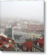 Foggy Day At Lisbon. Portugal Metal Print