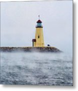 Foggy Day At The Lighthouse Metal Print