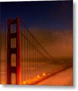Foggy Golden Gate At Sunset Metal Print