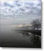 Foggy Hudson River Shore Metal Print