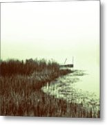 Foggy Lake Pier Metal Print