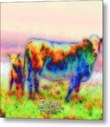 Foggy Mist Cows #0090 Arty Metal Print