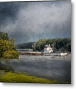 Foggy Morning At The Barge Harbor Metal Print