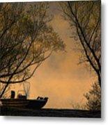 Foggy Morning Fishing Boat Metal Print