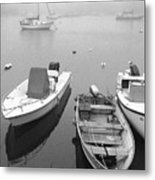 Foggy Morning In Cape Cod Black And White Metal Print