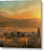 Foggy Morning Over Portland Cityscape During Sunrise Metal Print