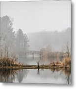 Foggy Morning View Of The Bridge Metal Print