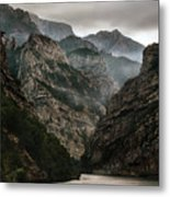 Foggy Mountains Over Neretva Gorge Metal Print