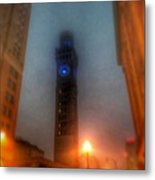 Foggy Night - The Bromo Seltzer Tower Metal Print