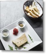 Foie Gras French Traditional Duck Pate With Bread  Metal Print
