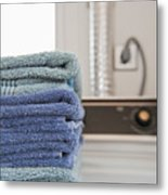 Folded Towels On A Dryer Metal Print by Thom Gourley/Flatbread Images, LLC