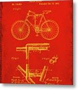 Folding Bycycle Patent Drawing 1c Metal Print