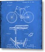 Folding Bycycle Patent Drawing 1d Metal Print