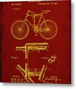 Folding Bycycle Patent Drawing 1f Metal Print