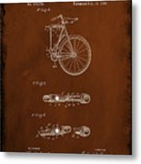 Folding Bycycle Patent Drawing 2c Metal Print