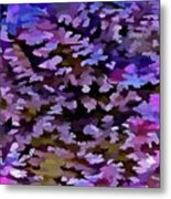 Foliage Abstract In Blue, Pink And Sienna Metal Print