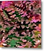 Foliage Abstract In Pink, Peach And Green Metal Print