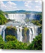 Foliage In And Around Waterfalls In Iguazu Falls National Park-brazil  Metal Print