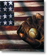 Folk Art American Flag And Baseball Mitt Metal Print by Garry Gay