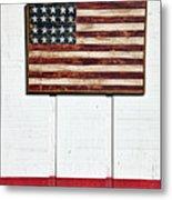 Folk Art American Flag On Wooden Wall Metal Print