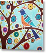 Folk Bird In Tree Metal Print