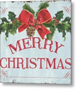 Folk Merry Christmas Metal Print