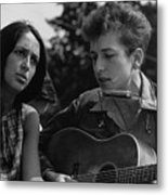 Folk Singers Joan Baez And Bob Dylan Metal Print by Everett