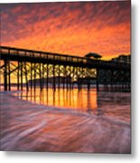 Folly Beach Pier And Waterfront Development Charleston South Carolina Metal Print