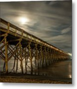 Folly Beach Pier At Full Moon Metal Print