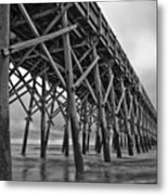 Folly Beach Pier Black And White Metal Print by Dustin K Ryan