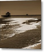 Folly Pier Sunset Metal Print