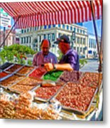 Food Booth In Valparaiso Square-chile Metal Print