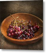 Food - Grapes - A Bowl Of Grapes  Metal Print by Mike Savad