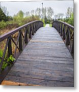 Foot Bridge In Park Metal Print
