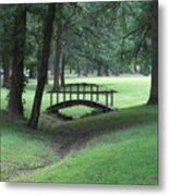 Foot Bridge In The Park Metal Print