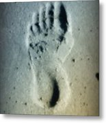 Foot Print In The Sand Metal Print