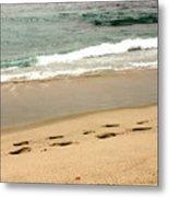 Foot Prints In The Sand.jpg Metal Print