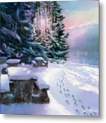 Foot Prints On Snow-port Moody Metal Print