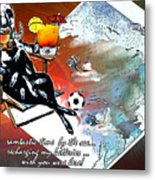 Football Derby Rams On Holidays By The Sea Metal Print